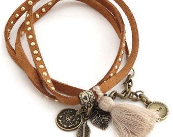 Suede Wrap - Choker - Suede Choker - Tassel Bracelet - Boho Bracelet - Charm Bracelet - Arm Bracelet - Gift for her - Gypsy jewelry - Hippie