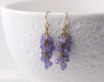 Tanzanite Earrings, Tanzanite Drop Earrings, Tanzanite Cluster Earrings, 14k Gold Filled, Tanzanite Wire Wrapped Earrings, Free Shipping