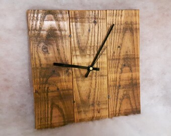 Wall Clock - Wooden Wall Clock -  Reclaimed Wood Wall Clock - Square Clock - Pallet Wood Clock - Rustic Clock - Shabby Chic Clock