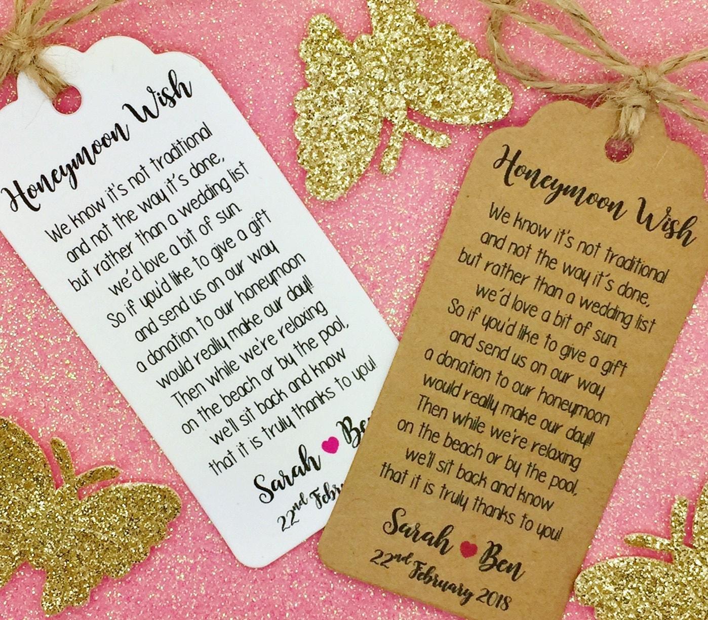 Wedding Gift Poems For Money For Honeymoon: Wedding Honeymoon Fund Money Request Poem Card Favour Gift