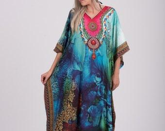 Digital Print Long Kaftan,Choose Sheer or non-Sheer Caftan, Hippie Dress,Tunic,Free Size,Beach Cover Up,Beach Wear,Boho Dress,summer dress