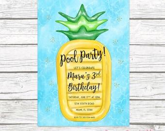 Pool Party Invitation, Pineapple Birthday Invitation, Pool Float Invitation, Pool Invitation, Pineapple Birthday Invite, Printable Invite