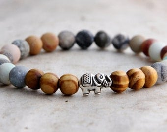Father's Day gift birthstone african jewelry african bracelet elephant Jewelry elephant bracelet amazonite Jewelry amazonite bracelet fertil