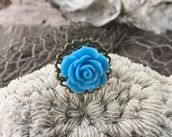 JEWELRY: Flower Filigree Ring / Rose Adjustable Brass filigree Ring/ Gift for Her. {A9-34#00167}