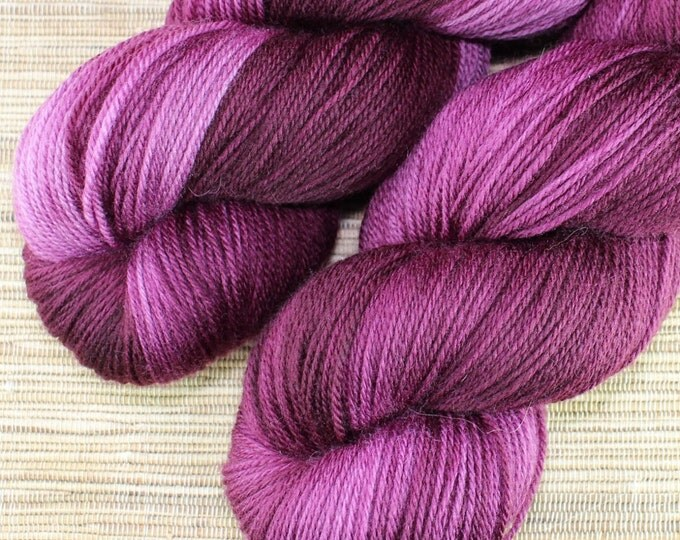 Featured listing image: Hand dyed yarn - 100g Extrafine Merino -  fingering weight (4 ply) in 'Sangria' - With free cowl pattern