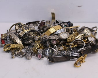 8 lb Lot Of Watches, Watchbands, Watch Parts - For Jewelry Making, Watch Repair, Art Supplies & Crafts