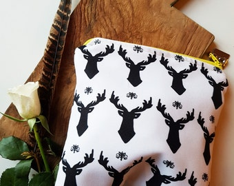 Girls Stag Zip Pouch | Pouch | Makeup Pouch | Wash Bag | White Stag Zip Pouch | Handbag Tidy | Free UK Shipping!