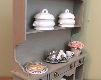 Miniature Cabinet, Dollhouse Dining Room, Dollhouse Hutch, Dollhouse Display Cabinet