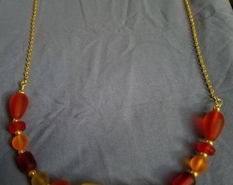 Seaglass burning sun necklace