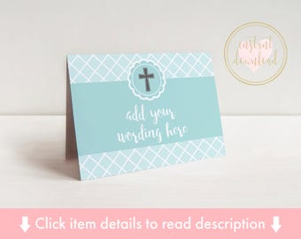 Baptism Place Cards, Christening, Communion, First Communion, Confirmation, Seating Cards, Food Label, Name Card, Tent Card, INSTANT DONLOAD