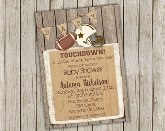 Football Baby Shower Invitations - Printed Sports Baby Shower Invitation