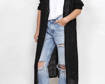 Black cardigan, long black cardigan, women's jacket, knitted cardigan, womens jacket, cardigan for woman, stylish clothes, long black jacket