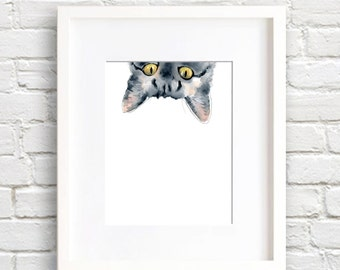 Sneaky Tabby Cat - Art Print - Wall Decor - Watercolor Painting