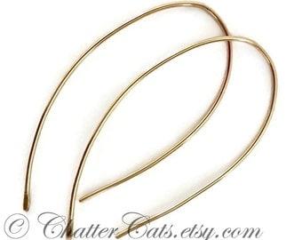 Gold Teardrop Dangle Earrings 14K Yellow Gold Fill Hoop Earrings Minimalist Drop Earrings Wedding Jewelry Earrings Gift for Women