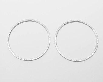 P0528/Anti-Tarnished Matt Rhodium Plating Over Brass/Large Textured Circle Pendant/33mm/2pcs