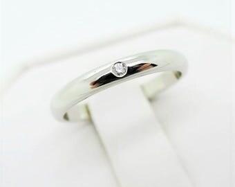 Size 51 ~ CARTIER WEDDING RING ~ 2.5mm, Platinum with Diamond
