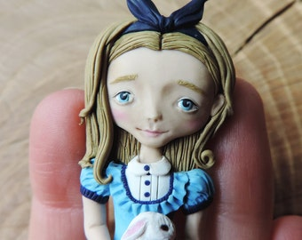 Alice in wonderland, polymer clay pendant, mini doll jewelry, OOAK polymer clay doll, White rabbit