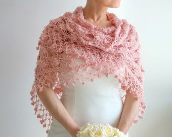 Crochet rose shawl, dusty pink shawl wrap, bridal shawl, pale pink shawl, cover up, wedding wrap, gift for her, fast shipping, ready to ship