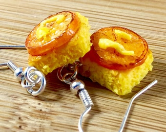 Caramelized orange tart polymer clay food charm jewelry