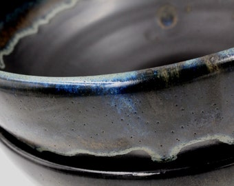 Ceramic Serving Bowl - Black with Gold  and Blue Colored Rim
