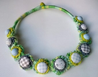 Colorful crochet necklace with buttons - blue, green, grey, checkered, dots, flower