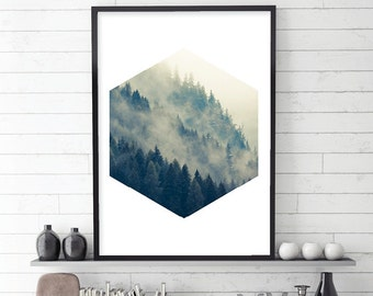 Forest Print, Mountain Photography, Mist, Trees, Forest, Scandinavian Prints, Scandinavian Art, Scandinavian Modern, Mountain Print,  Scandi