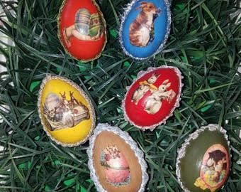 ON SALE! Six vintage looking easter eggs.