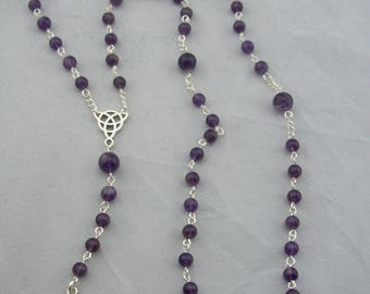 Amethyst Gemstone, Pagan Prayer Beads, Meditation Beads, Gratitude Beads, Ritual Beads, Goddess, Angelminks, Necklace, Prayer Beads