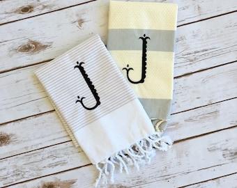 "Turkish Towel ""J"", Monogrammed Turkish Towel, J Initial Towel, Turkish Tea Towel"