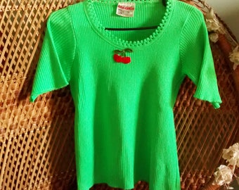 Green 1970s Knitted T Shirt with Red Cherries