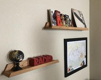 Oak Vinyl Record Storage, Record Storage, LP Shelf, Floating Shelf, modern decor, Mid Century Modern, ipad stand,lp storage, photo ledge
