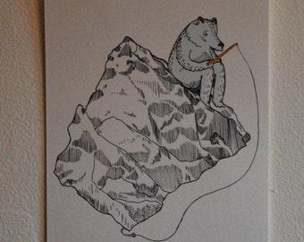 Bear fishing Digital Print
