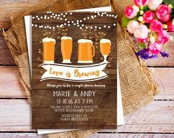 Love is brewing invitation, stock the bar invitation, rustic couple shower invitation, stringlight rustic invitation, bridal shower invite