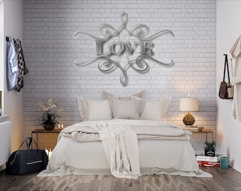 love metal wall art scroll wall decor word art contemporary metal wall art - Large Metal Wall Decor
