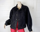 80s Black Jean Jacket- 1980s Braxton Stone Washed Denim- Large