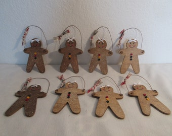 Handcrafted Colorful Wooden Gingerbread Ornaments - 8