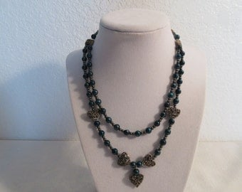 Vintage Stunning Adjustable Beaded Heart Necklace