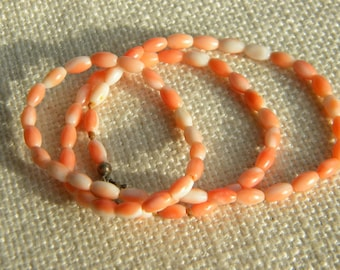 vintage necklace Pink CORAL oval beads ~ silver 925 clasp ~inA2207