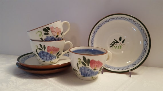 Stangl Fruit and Flowers Cups and Saucers (3) #4030