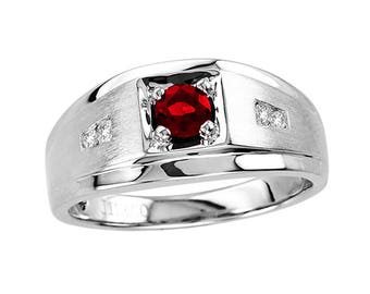 Men's 5x5mm Round Ruby Ring in Sterling Silver