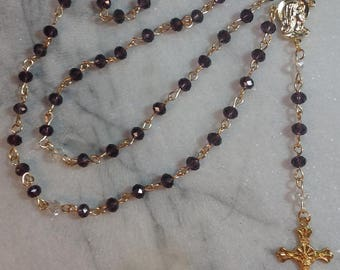 Purple With Clear Swarovski Crystals Rosary