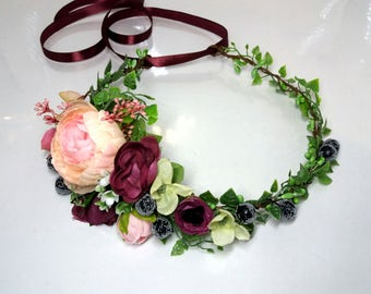 Burgundy Flower crown Flower halo Wedding flower crown Bridal headband Floral crown  Pink flower crown Flower hair wreath Flower halo