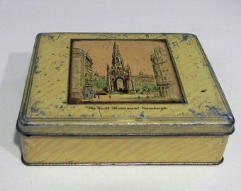 McVitie & Price Biscuit VINTAGE TIN BOX 1930s, Collectors tin, Collectible square old box, Mac Mc Vitie and Price Biscuits, Made in Scotland