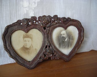 Vintage photo frames in cast bronze, Double Photo Frame, Romantic Photo Frame