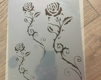 stencil rose, bee french  mylar 125 micron , retro , , size A4, airbrush , tattoo , aerograph,flowers,Shabby chic,french ,furniture, vintage