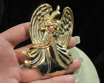 Vintage Large Tri Tone Angel Pin/Pendant