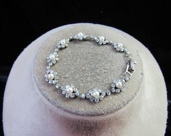 Vintage Rhinestone Faux Pearl Bracelet