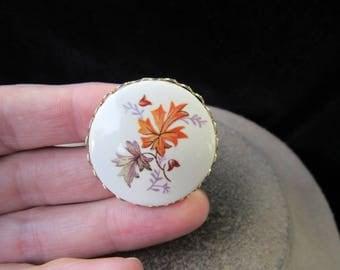 Vintage Goldtone Ceramic Hand Painted Leaves Pin