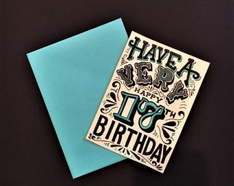 blue black and white hand lettered customized birthday year card