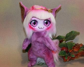 Violet Chibi Neko Girl - soft toy, toys handmade